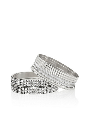 Set of 9 Bangles with Glitter and Crystal Accents,SILVER,large