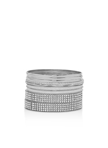 Glitter Rhinestone Bangles Set of 9,SILVER,large