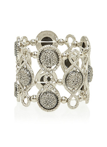 Stretch Bracelet with Varied Crystals,SILVER,large