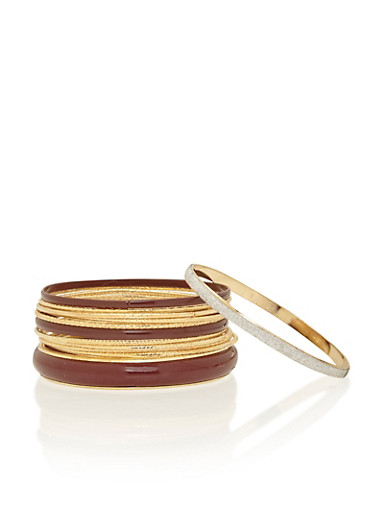 Set of 12 Bangles with Glitter Accents,WINE,large