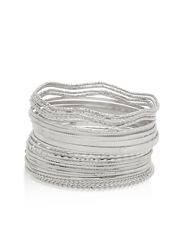 Plus Size Set of 20 Textured Bangles,SILVER,large