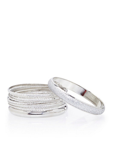 Plus Size Set of 14 Textural Bangles,SILVER,large