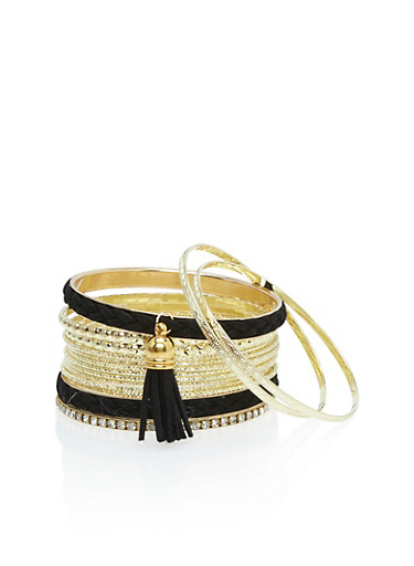 Set of 15 Suede Tassel and Rhinestone Bracelets,BLACK,large