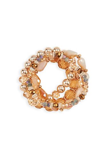5 Piece Beaded Bracelets,ROSE,large