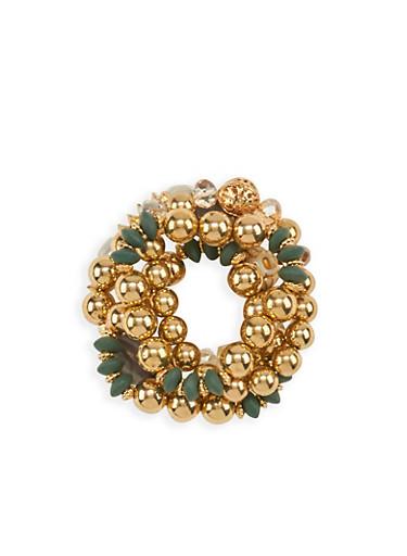 5 Piece Beaded Bracelets,GOLD,large