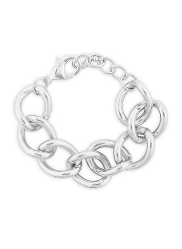 Chunky Chain Bracelet,SILVER,large