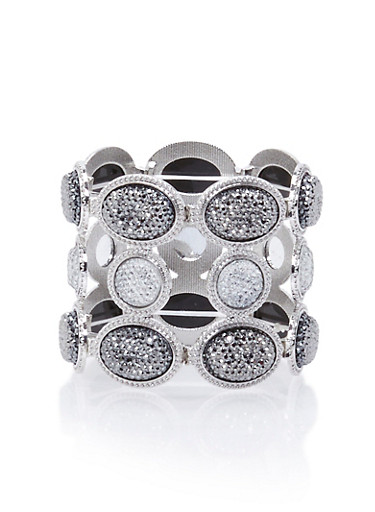 Stretch Bracelet with Crystal Oval Accents,SILVER,large