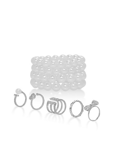 Faux Pearl Bracelets and Metallic Rings,SILVER,large