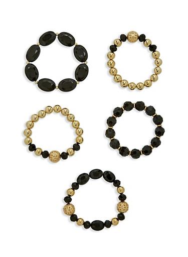 Multi Bead Bracelet Set,BLACK,large