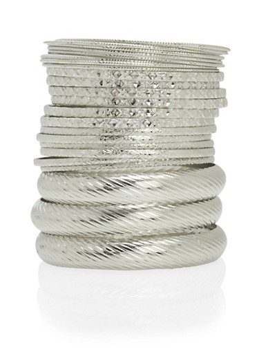 Set of 24 Textured Bangles,SILVER,large