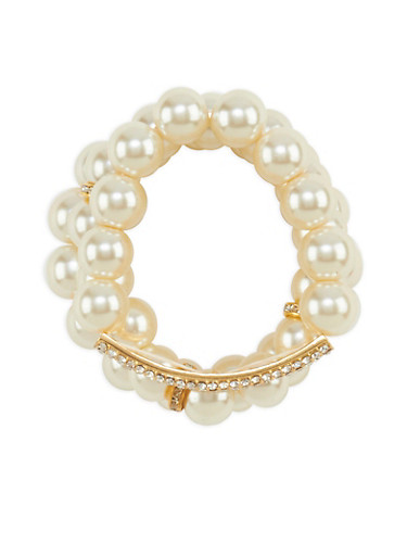 Faux Pearl and Rhinestone Bracelet Set,IVORY,large
