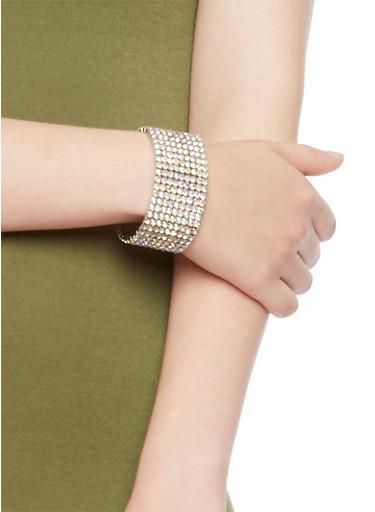 Studded Stretch Bracelet,SILVER,large