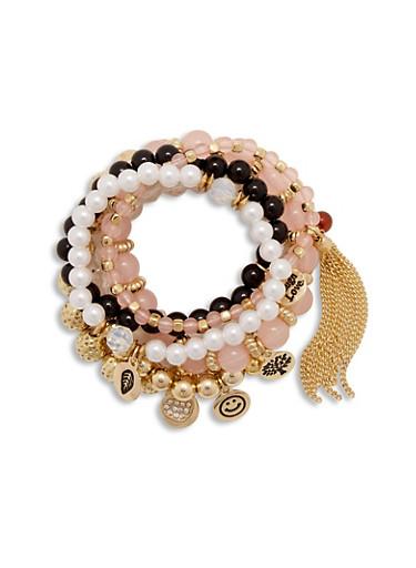 Set of 6 Beaded Charm Bracelets,BLACK,large