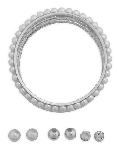 Assorted Bangle Bracelets and Stud Earrings Set,SILVER,large