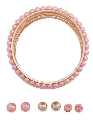 Assorted Bangle Bracelets and Stud Earrings Set,ROSE,large
