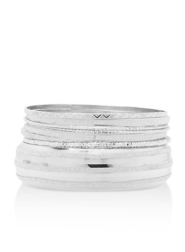 Glitter Bangle Set,SILVER,large