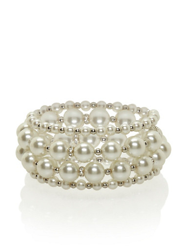 Faux Pearl Coil Bracelet,SILVER,large