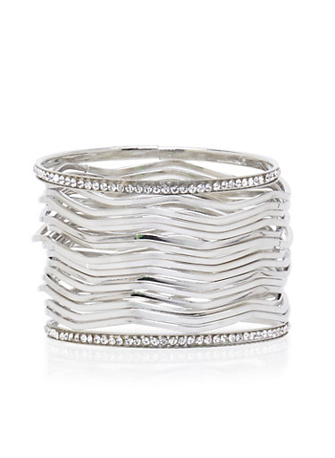Set of 17 Wavy Bangles with Crystal Accents,SILVER,large