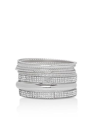 Braided Metallic Rhinestone Bracelet Set,SILVER,large