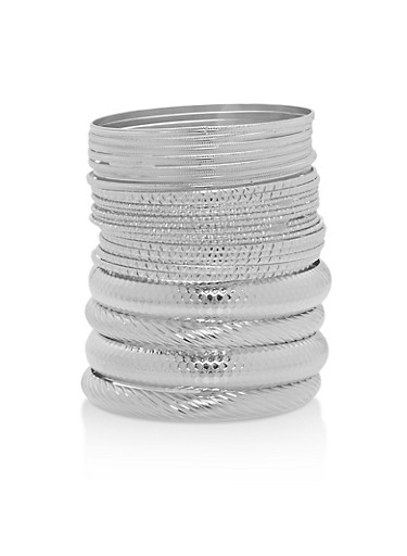 Plus Size Multi Textured Bangles Set of 25,SILVER,large