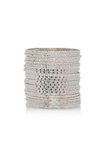 Textured Metallic Bangles Set,SILVER,large
