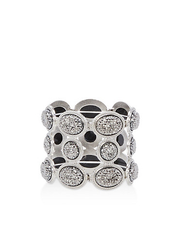 Rhinestone Stretch Bracelet,SILVER,large