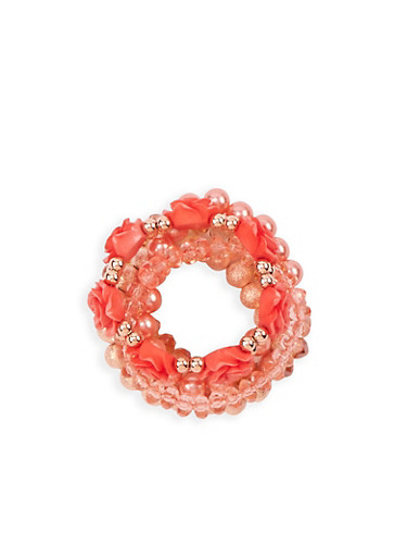 Rose Beaded Stretch Bracelets,ROSE,large