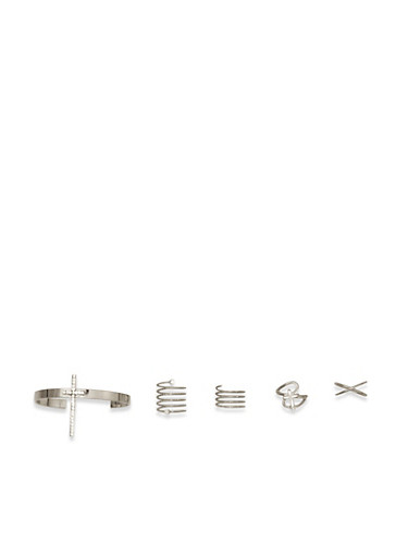 Assorted Rings and Cross Bracelet Set,SILVER,large