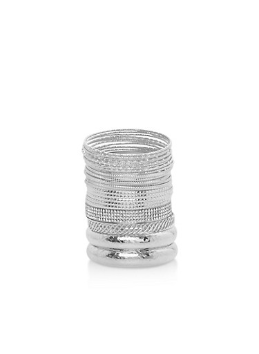 Metallic Multi Textured Bangles,SILVER,large