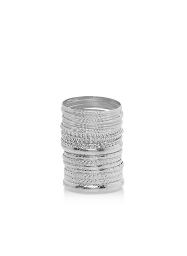 Metallic Etched Bangles,SILVER,large