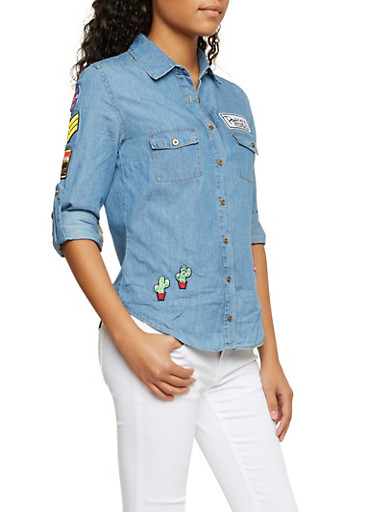 Chambray Shirt with Assorted Patches,MEDIUM DENIM,large