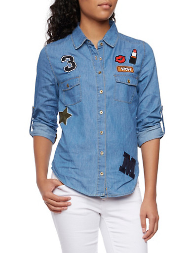 Chambray Shirt with Patches,LIGHT DENIM,large