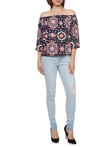Off the Shoulder Top with Mixed Print,NAVY,large
