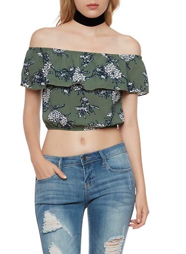 Off the Shoulder Crop Top in Floral Print,OLIVE,large