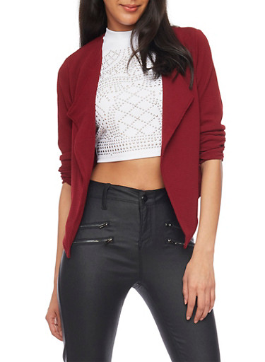 Online Exclusive - Cropped Open Front Blazer with Zip Back,WINE,large
