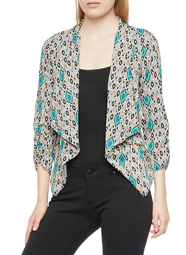 Printed Draped Blazer with Zipper Pockets,BLACK,large