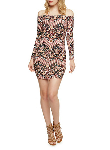 Off the Shoulder Mini Dress in Mixed Print,BLACK,large