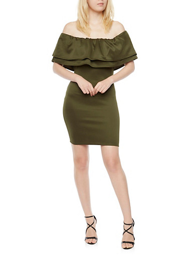 Online Exclusive - Ruffled Off the Shoulder Dress,OLIVE,large