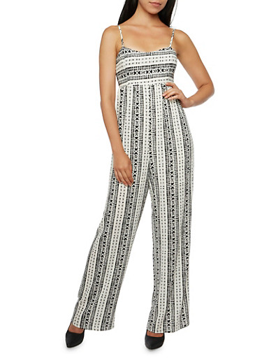 Sleeveless Crepe Jumpsuit in Abstract Print,WHITE,large