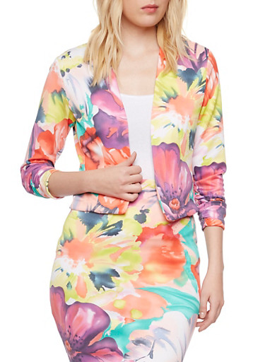 Online Exclusive - Floral Knit Blazer with Ruched Sleeves,CORAL,large