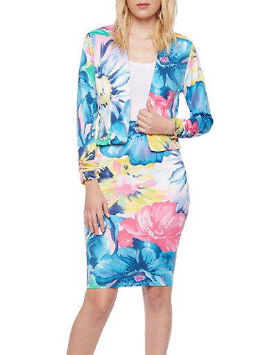 Floral Knit Blazer with Ruched Sleeves,BLUE,large
