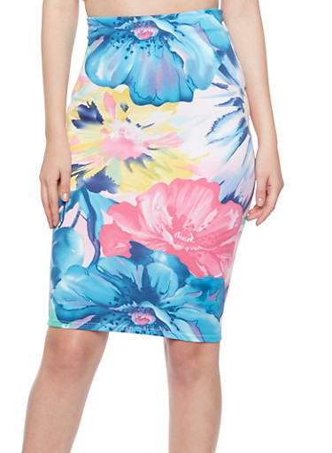 Knit Midi Skirt in Floral Print,BLUE/PINK,large