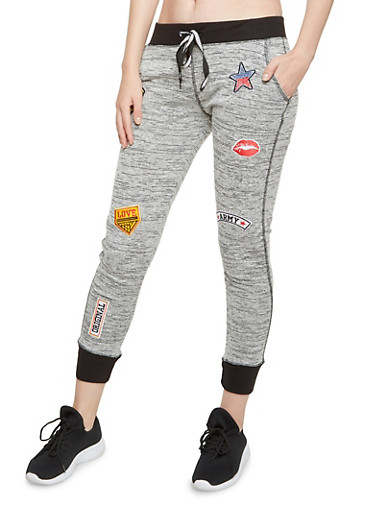 Space Dye Joggers with Patches,HEATHER,large