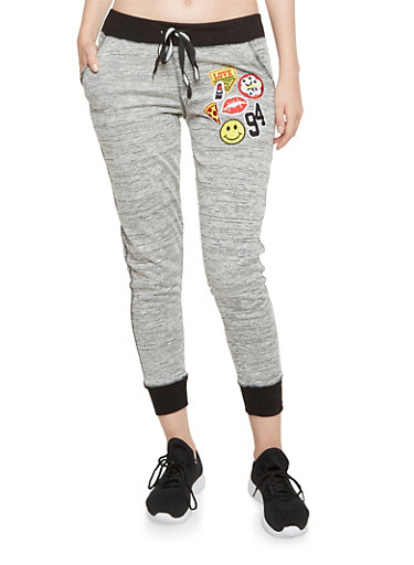 Joggers with Mixed Patches,HEATHER,large