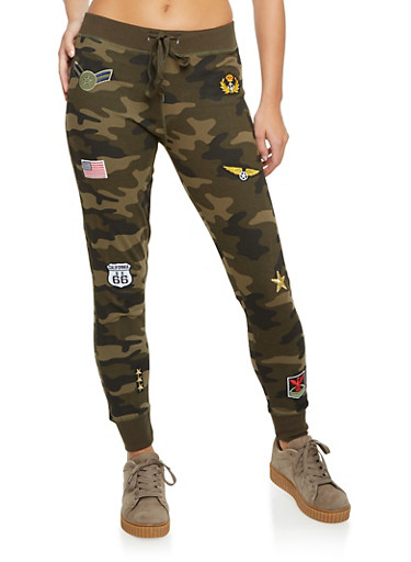 Camo Joggers with Patches,OLIVE,large