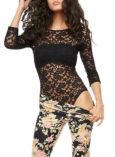Long Sleeve Low Back Lace Bodysuit,BLACK,large