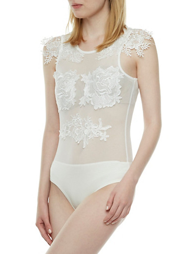 Mesh Bodysuit with Lace Appliques,IVORY,large