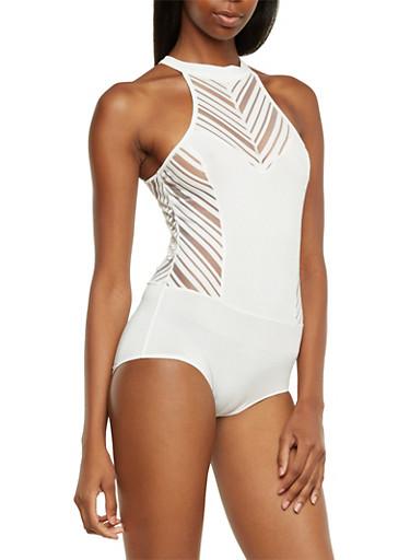 Sleeveless Bodysuit with Shadow Stripes,WHITE,large