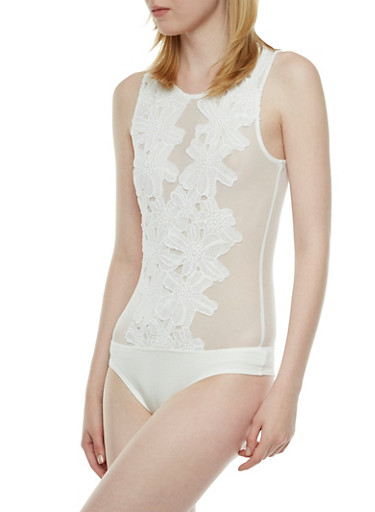 Sheer Mesh Bodysuit with Floral Crochet Detail,IVORY,large