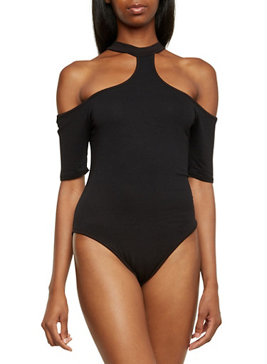 Jersey Bodysuit with Cold Shoulders,BLACK,large
